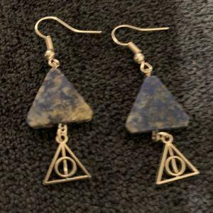 Lapis Lazuli Harry Potter Earrings Deathly Hallows